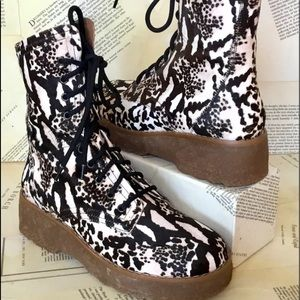 Free People Combat Boot Print Cow Hair LaceUp Lug
